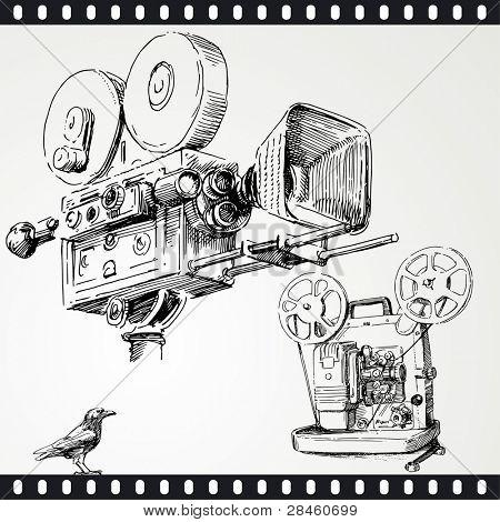 movie camera - hand drawn set