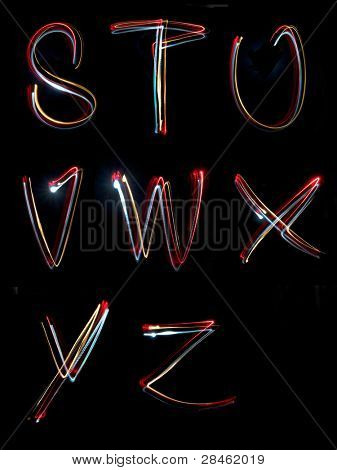 the letters, s,t,u,v,w,x,y,z written in the dark with torches and lasers
