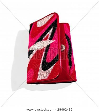 Pink - Women's Red Purse Python Skin. Close-up.