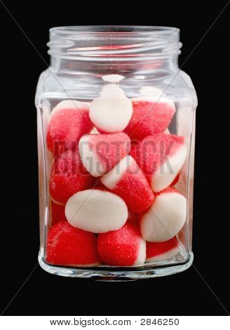 Strawberry Candies In Glass Pot