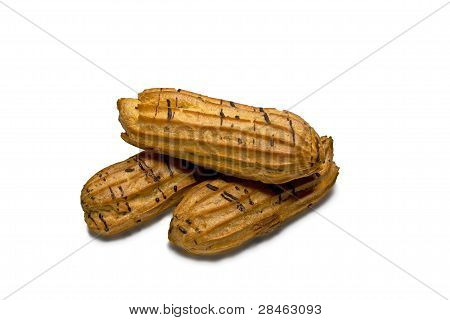 Three Buns Eclairs. Isolated