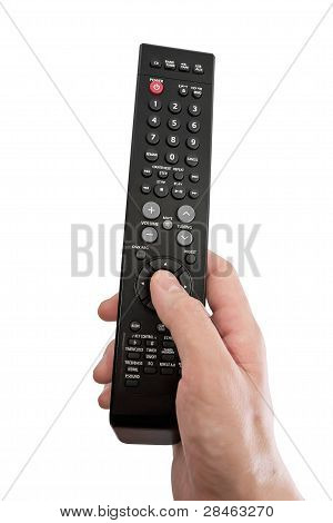 The Tv Remote Control In Hand. Isolated