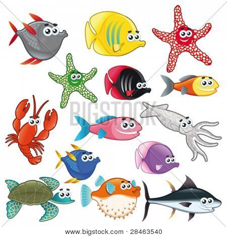 Family of funny fish. Vector isolated characters.