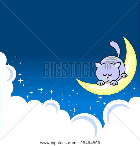 Small blue pretty cat sleeping on crescent. Raster version.