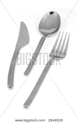 Trendy Metal Fork Knife And Spoon Isolated On White