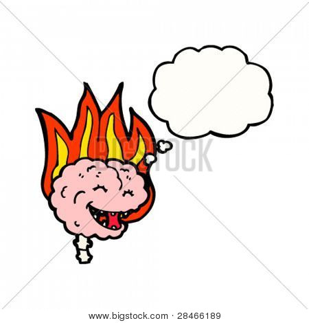 flaming brain cartoon
