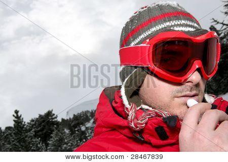 Closeup of a man in ski goggles