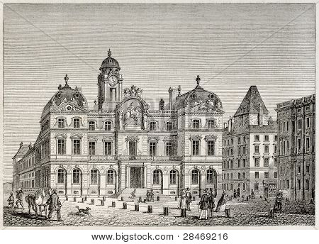 Hotel de Ville de Lyon (city hall). Created by Best and Leloir, published on Magasin Pittoresque, Paris, 1845