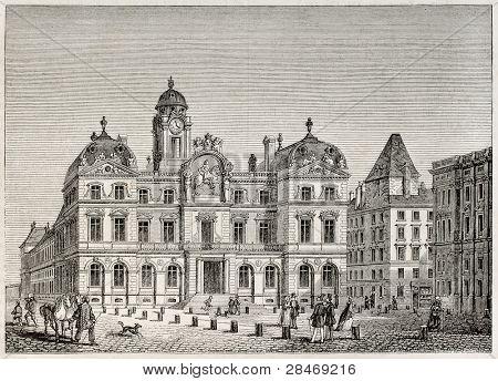 Hotel de Ville de Lyon (city hall). Created by Best and Leloir, published on Magasin Pittoresque, Paris, 1845