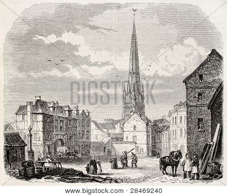 Harfleur old view, France. Created by Marville, published on Magasin Pittoresque, Paris, 1845