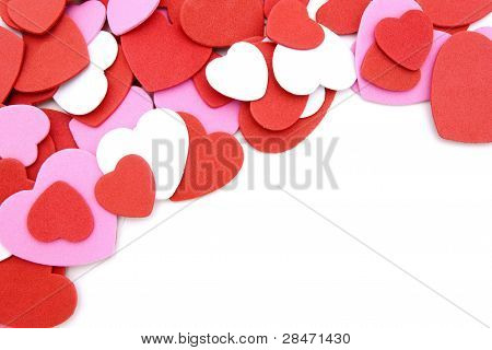 Heart-shaped confetti background