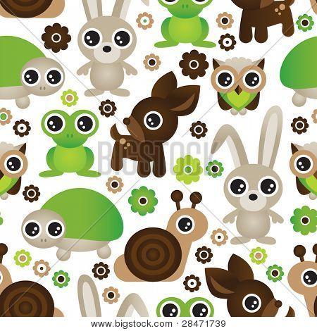 Seamless deer turtle bunny animal wallpaper pattern in vector