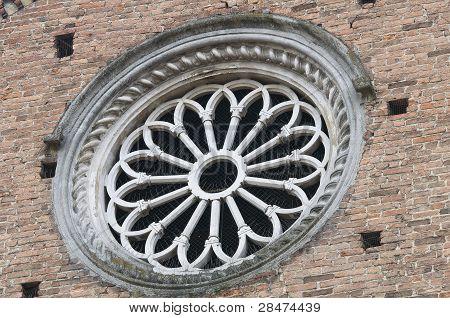 Rose window. St. Antonino Basilica. Piacenza. Emilia-Romagna. Italy.