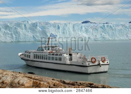 Argentine Excursion Ship Near The Perito Moreno Glacier In Patagonia, Argentina