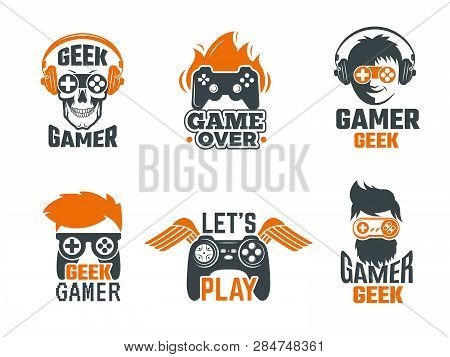 poster of Gamers Badges. Joystick Video Gaming Old School Labels For Smart Geek Vector Template. Logo For Game