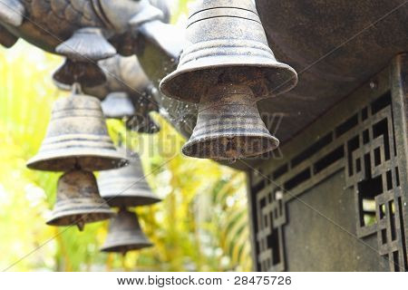Wind chime hanging on a Chinese temple