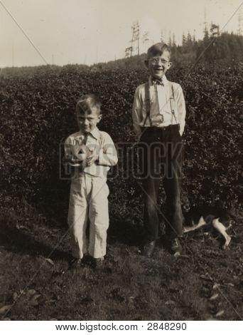 Vintage 1938 Photo Kids and Pumpkins