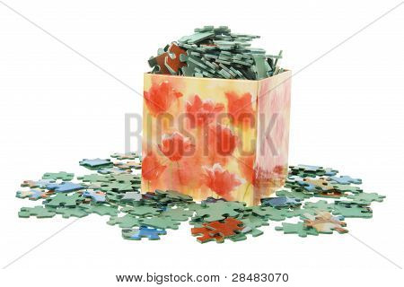 Jigsaw Puzzle Pieces in Box