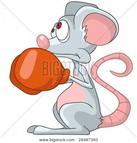 Cartoon Character Mouse Boxer Isolated on White Background. Vector.