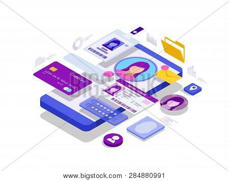poster of Isometric Personal Data Information App, Identity Private Concept. Digital Data Secure Banner. Biome