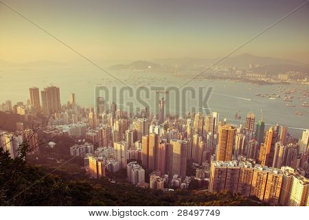 over view of modern city (Hongkong)