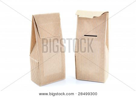 Two  Boxes From The Goffered Cardboard Ion A White Background