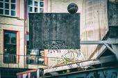 Street Basketball Game. Basketball Shield, Ball Flies To The Basket. Accurate Throw In Basketball Ri poster