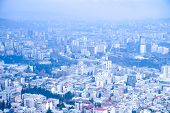 Cityscape In The Morning. City In Fog In Blue. Morning Fog. Morning For Covering The City. Blue City poster