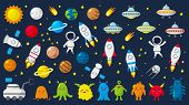 Big Set Of Cute Astronauts In Space, Planets, Stars, Aliens, Rockets, Ufo, Constellations, Satellite poster
