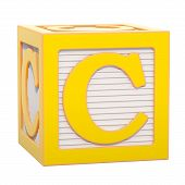 Abc Alphabet Wooden Block With C Letter. 3d Rendering Isolated On White Background poster