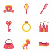 Princess Things Icon Set. Flat Style Set Of 9 Princess Things Icons For Web Isolated On White Backgr poster
