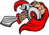 Trojan Mascot Body With Sword And Shield Cartoon Vector Illustration
