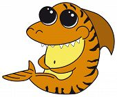 Tiger Shark With Big Eyes. Cartoon Funny Isolated Character Fron The Ocean. Sea Print For Clothes, C poster