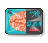 Salmon Fillet Packaging. Plastic Tray Container With Cellophane Cover. Mockup Template For Your Desi poster