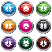 Sign Hippie Peace Set Icon Isolated On White. 9 Icon Collection Illustration poster