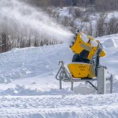 Snow Cannon At Work On A Sunny Winter Day In Utah poster