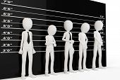 pic of lineup  - 3d man with police lineup wall on white background - JPG