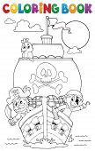 Coloring Book Vessel With Pirates - Eps10 Vector Picture Illustration. poster