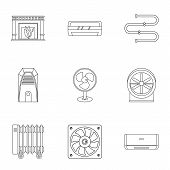 Heating Cooling Air Icon Set. Outline Style Set Of 9 Heating Cooling Air Icons For Web Isolated On W poster