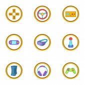 Video Game Icon Set. Cartoon Style Set Of 9 Video Game Icons For Web Isolated On White Background poster