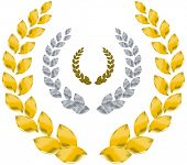 laurel wreath gold, silver, bronze
