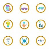 Future Gadget Icon Set. Cartoon Style Set Of 9 Future Gadget Icons For Web Isolated On White Backgro poster