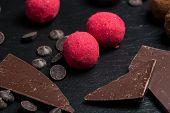Theme Sweet Dessert Cake Handmade. Macro Close-up Dessert Sweet Candy Round Ball Truffle Set Of Blac poster