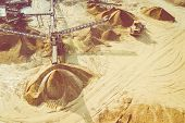 Aerial View Of Sandpit And Factory Plant Producing Sand Materials For Construction Industry. Top Vie poster