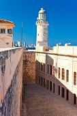 picture of el morro castle  - The famous castle and lighthouse of El Morro - JPG