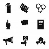 Human Protester Icon Set. Simple Set Of 9 Human Protester Icons For Web Isolated On White Background poster
