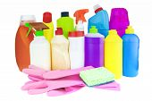 Household Chemicals. Assortment Of Household Chemical Products poster