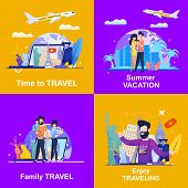 Set Banner Illustration Advertising Travel Company. Viewing On Laptop Video Blog Is Time To Travel.  poster