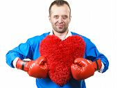 Guy Ready To Fight For Love. Adult Man Wearing Red Boxing Sporty Gloves Holding Heart Shape. Winning poster