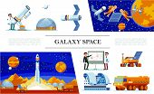 Flat Space And Galaxy Concept With Scientists Planetarium Telescope Astronauts Fix Satellite Rocket  poster